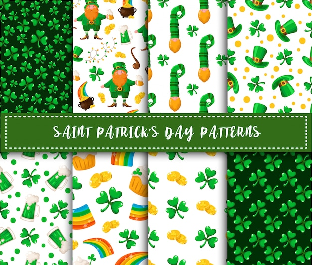 Saint patrick dag naadloze patroon set