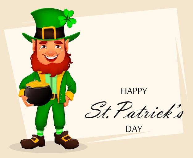 Saint patrick dag wenskaart met schattige leprechaun