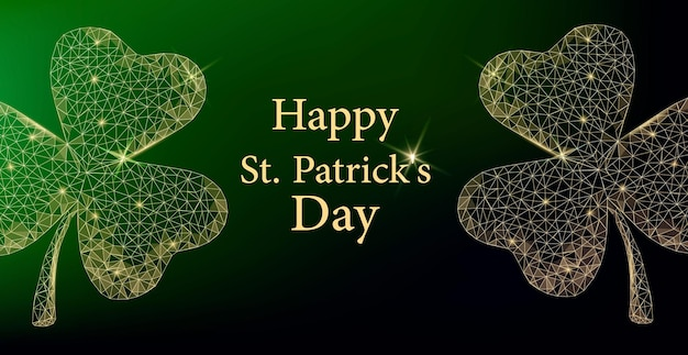 Saint patrick dag wenskaart. twee veelhoekige gouden klaverblaadjes