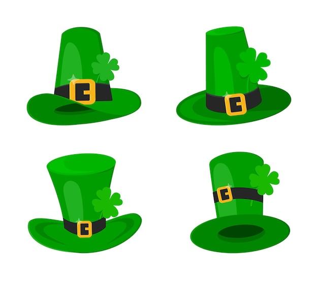 Saint patrick day kabouter groene hoed set met klavertje vier gelukkige vlakke stijl ontwerp