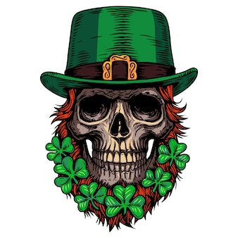 Saint patrick day vakantie ierse keltische leprechaun schedelklaver