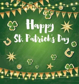 Saint patrick's day achtergrond met gouden vlaggen, sterren en klaver bladeren. vectorillustratie.