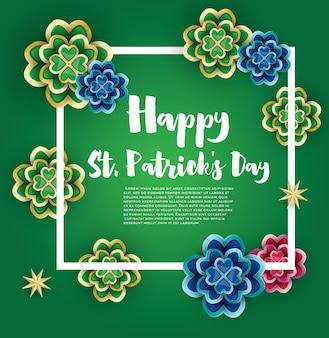 Saint patrick's day achtergrond met klaver bladeren en gouden sterren. vector illustratie.