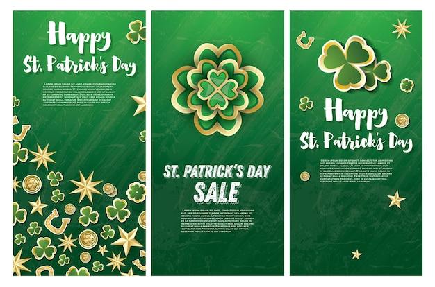Saint patrick's day achtergrond met klaver bladeren, gouden sterren en munten. vector illustratie.