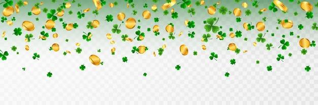 Saint patrick's day grens met groene vier en boomblad klaverblaadjes en gouden munten ierse geluk en succes symbolen.