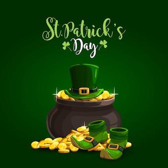 Saint patrick's day illustratie met munten, hoeden en schoenen