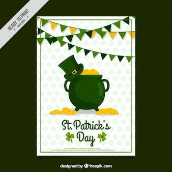 Saint patrick's day kaart met ketel met hoed en munten