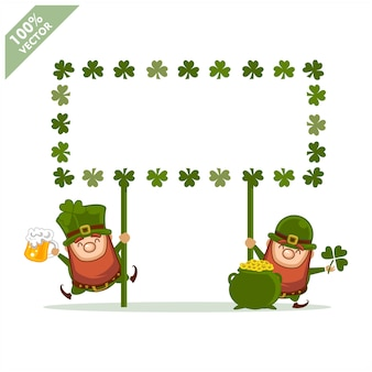 Saint patrick's day lay-out framewith cartoon kabouter, klaver op wit wordt geïsoleerd