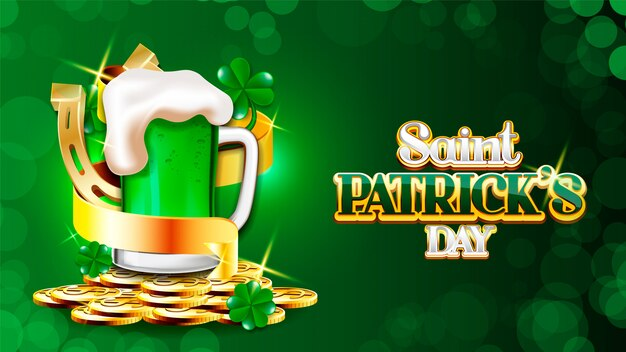 Saint patrick's day-ontwerp, ierland feest festival ierse en gelukkige thema vector illustratie saint patrick's day ketel van gouden munten