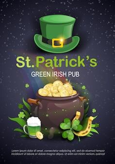 Saint patrick's day party flyer brochure met kabouter hoed, klaver, pot met gouden munten, ale op zwarte achtergrond. vector illustratie.