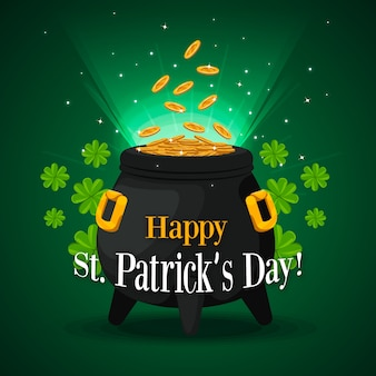 Saint patrick's day pot met goud