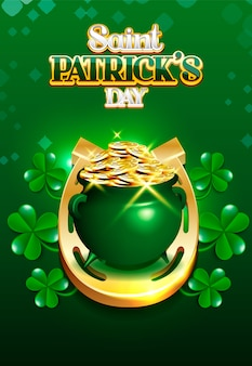 Saint patrick's day pot of gold en golden horse-schoen