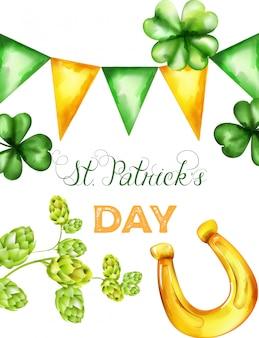 Saint patrick's day vector met groene en gele driehoek gorzen