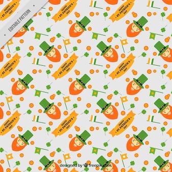 Saint patrick's decoratief patroon met elfjes en vlaggen
