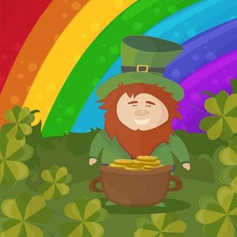 Saint patricks day uitnodigingskaart ontwerp met schat van kabouter op regenboog achtergrond. vectorillustratie.
