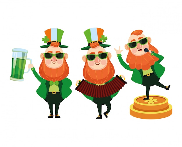 Saint patricks funny elves cartoons