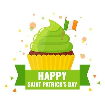Saint patricks-kaart met feestelijk versierde cupcakes.