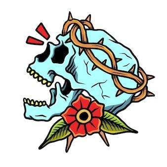 Saint skull en rose old school tattoo