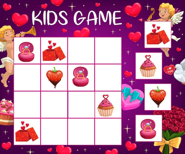 Saint valentine day kinderen logische puzzel met romantische cadeaus