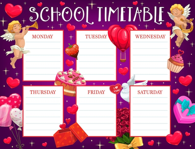 Saint valentine day kinderen schooltijdschema met cupido's
