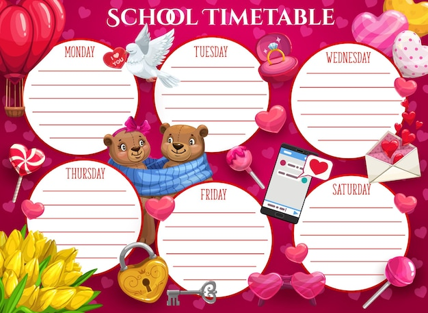 Saint valentine vakantie kinderen school tijdschema sjabloon