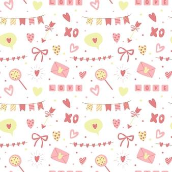 Saint valentines naadloze patroon.