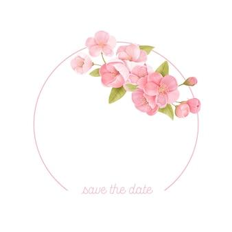 Sakura bloeit realistische bloemenkaderbanner. kersenbloesem vector bruiloft kaart ontwerp. lente bloem afbeelding achtergrond, exotische poster sjabloon, voucher, brochure, flyer