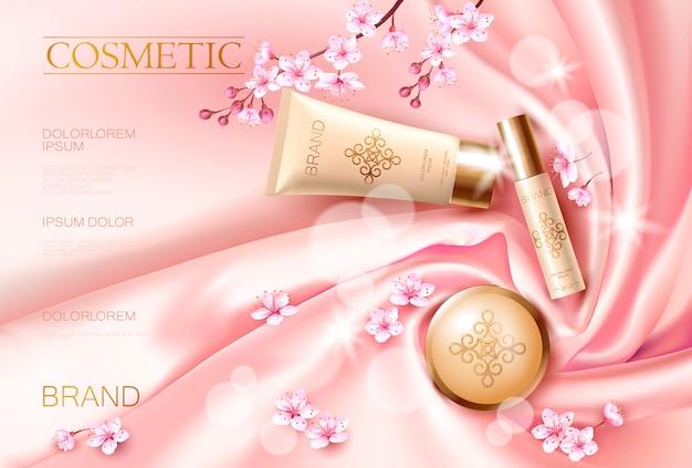 Sakura bloem cosmetische promotionele poster sjabloon. roze bloembloembloesem