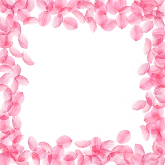 Sakura bloemblaadjes vallen. romantische roze zijdeachtige grote bloemen. dikke vliegende kersenblaadjes. vierkant bord