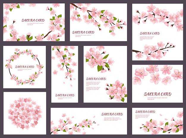 Sakura bloesem kers wenskaarten met lente roze bloeiende bloemen illustratie japanse set bruiloft uitnodiging bloeiende sjabloon decoratie geïsoleerd op een witte achtergrond