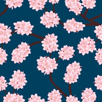 Sakura cherry blossom op indigo blue background