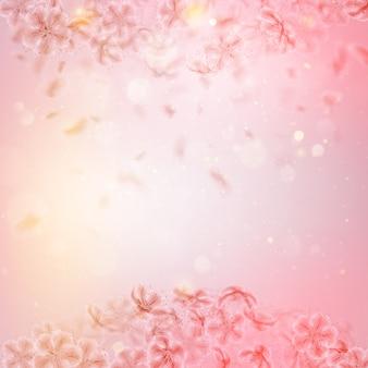 Sakura die bloemblaadjes met de wind mee vliegt.