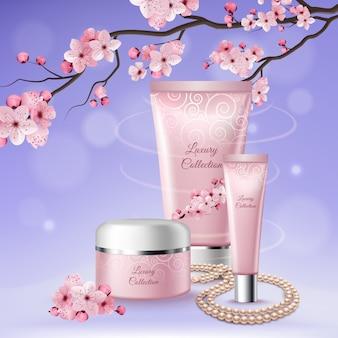 Sakura drie tubes cosmetische compositie met koppen van luxe collecties erop