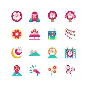 Sakura festival icon set vector geïsoleerd
