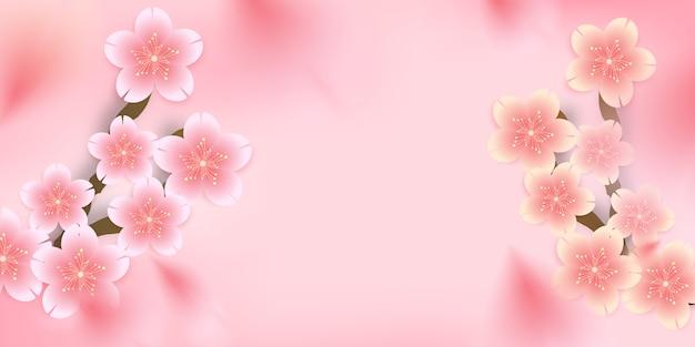 Sakura, kersenbloesem, gestanste bloemen die op de achtergrond vallen,