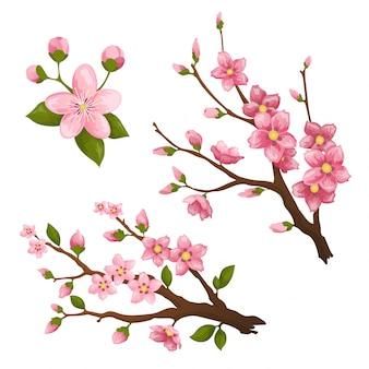 Sakura. mooie print met bloeiende donkere en lichtroze sakura bloemen.