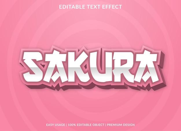 Sakura-teksteffectsjabloon met gewaagd stijlgebruik