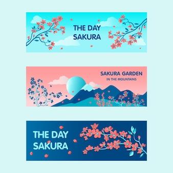 Sakura tuinbanners ontwerpen voor promotie. heldere moderne bloeiende bloemen en takken. japan en voorjaar concept. sjabloon voor poster, promotie of webdesign