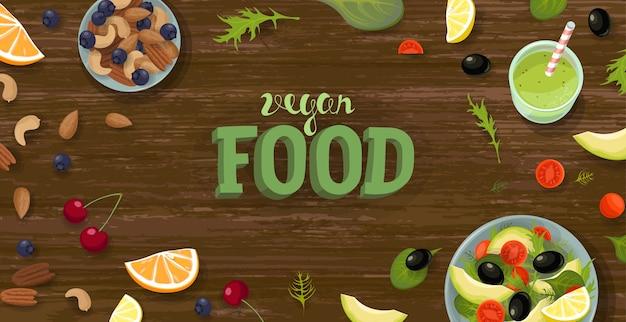 Salade en smoothie bovenaanzicht sjabloon voor spandoek. gezond veganistisch voedselontbijt. groene fruit- en groenteschaal. fitness dieet rantsoen verse vegetarische plat leggen