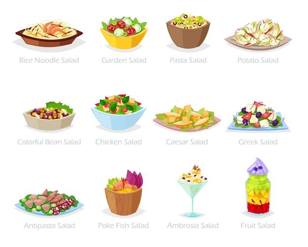 Salade gezond voedsel met verse groenten, tomaat of aardappel in slakom of salade-schotel voor diner of lunch illustratie set van biologische maaltijd dieet op witte achtergrond