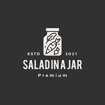 Salade in een jar hipster vintage logo