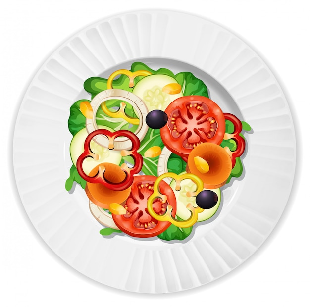 Salade met tomatenkomkommerpeper en sla