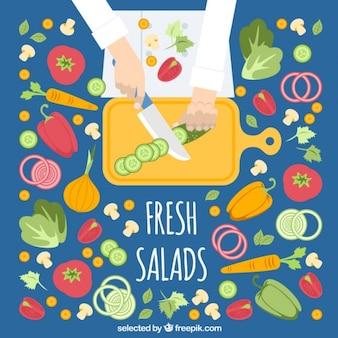 Salade voorbereiding bovenaanzicht