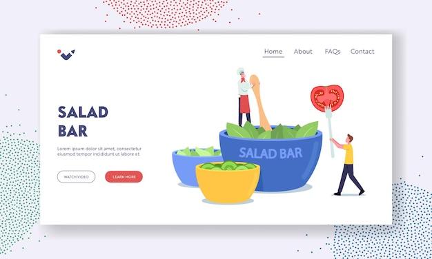 Saladebar-bestemmingspaginasjabloon. tiny chef character cooking salad bij enorme kom in vegan cafe, man met tomaat op vork. gezonde voeding, vegetarische voeding, buffet. cartoon vectorillustratie