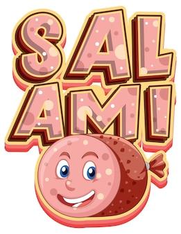 Salami logo tekstontwerp met salami karakter