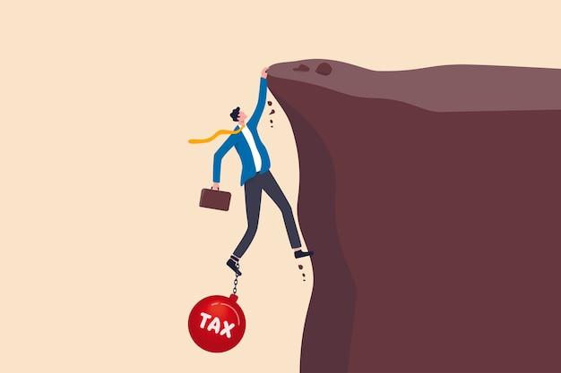 Salaris betalen inkomstenbelasting, overheidsbelasting, schuld, vergoedingsverplichting concept, probeerde depressieve zakenman die aktetas vasthoudt en op het punt staat te vallen van klif vastgebonden met zware bal met tekst belasting