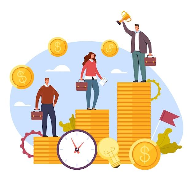 Salaris inkomensverschil, concept van sociale problemen, platte cartoon.