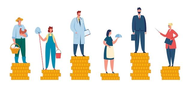 Salarisverschil, loonkloof tussen arm en rijk. mensen met verschillende inkomens, professionele inkomensvergelijking, ongelijk loon vectorconcept. oneerlijke winst voor boer, serveerster, leraar en dokter