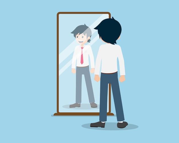 Salary man 01 zijn kijk in de spiegel