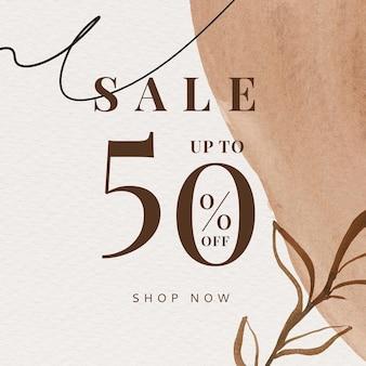 Sale 50% korting op sociale sjabloon met aquarel memphis-patroon